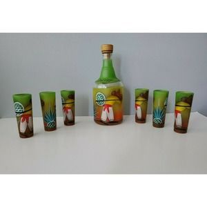 Hand Painted Tequila Decanter and 6 Shot Glasses